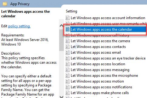 Privacidad de la aplicación del editor de políticas de grupo local Permitir que las aplicaciones de Windows accedan al calendario