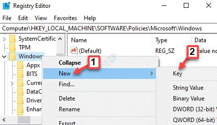 Editor del registro Navegue a Windows Haga clic con el botón derecho en Nueva clave