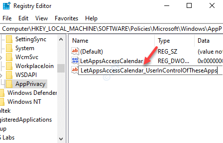 Editor de registro Cambiar nombre Nuevo valor de cadena múltiple Letappsaccesscalendar Userincontroloftheseapps