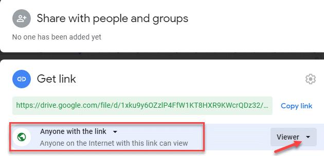 Compartir con personas y grupos Cualquier persona en Internet con este enlace puede ver el visor