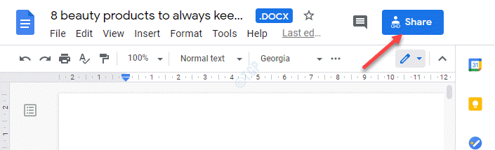 Botón azul para compartir archivos de Google Docs