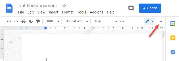 Signo de flecha hacia arriba del lado superior derecho de Google Docs