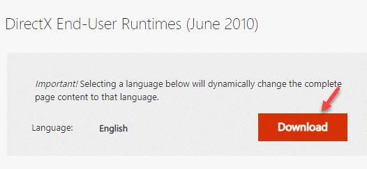 Descarga del sitio web de tiempo de ejecución del usuario final de Microsoft Directx