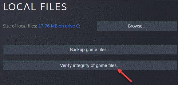 Propiedades de los archivos locales del lado izquierdo verificar la integridad de los archivos del juego