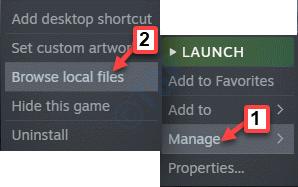 Steam Game Haz clic derecho en Administrar archivos locales de Brrowse