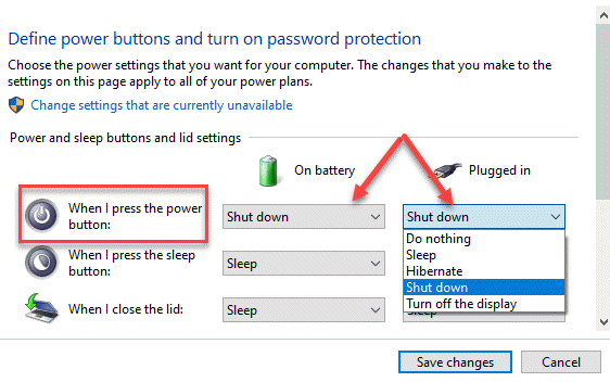 Botones de encendido y apagado y configuración de la tapa cuando presiono el botón de encendido con la batería enchufada Apagado