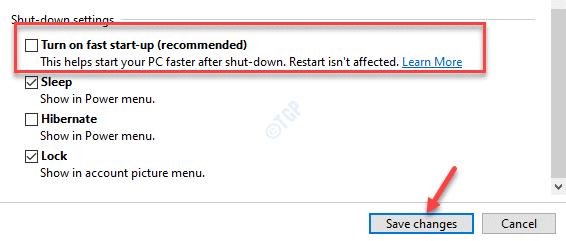 Configuración de apagado Activar Inicio rápido Guardar cambios