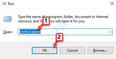 Ejecutar el panel de control de comandos Ok