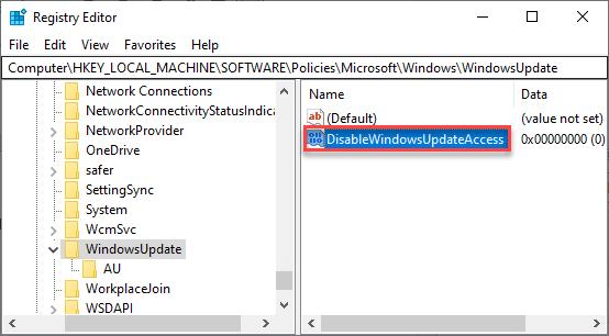Deshabilitar el mínimo de acceso a la actualización de Windows