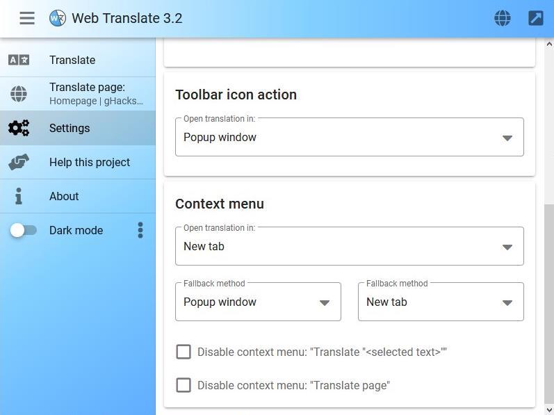 Traductor web: botón de la barra de herramientas