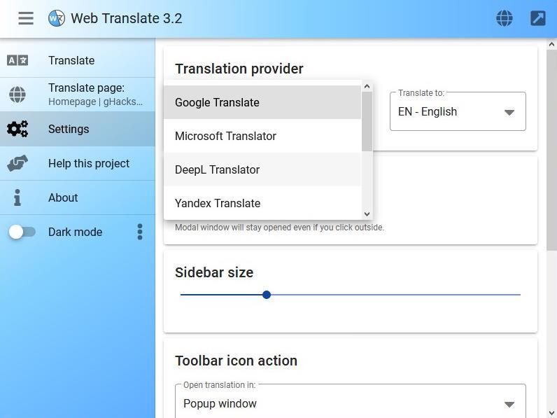 Traductor web: elija el servicio de traducción