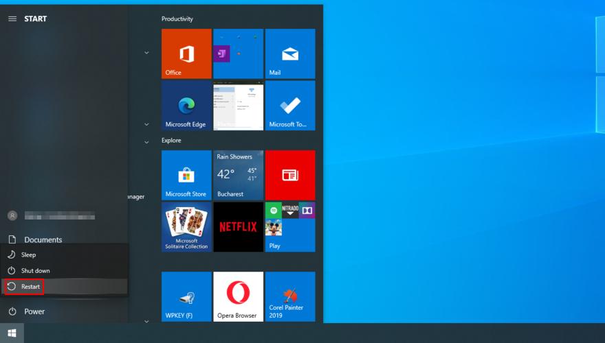 Windows 10 muestra cómo reiniciar su PC desde el menú Inicio