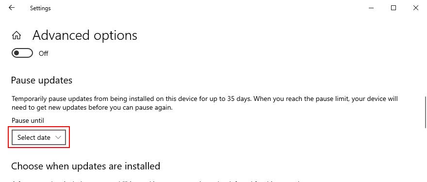Windows 10 muestra cómo pausar las actualizaciones de Windows