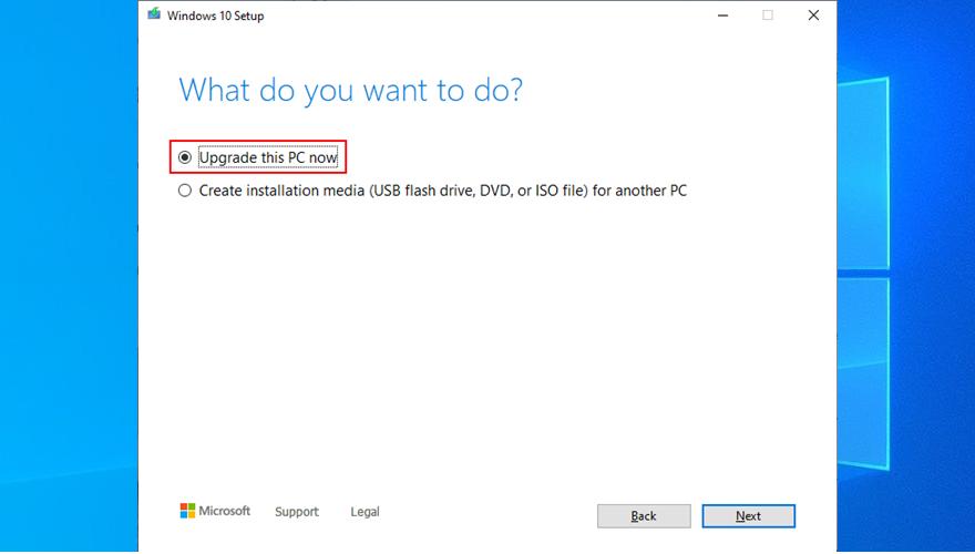 La herramienta de creación de medios muestra cómo actualizar su PC