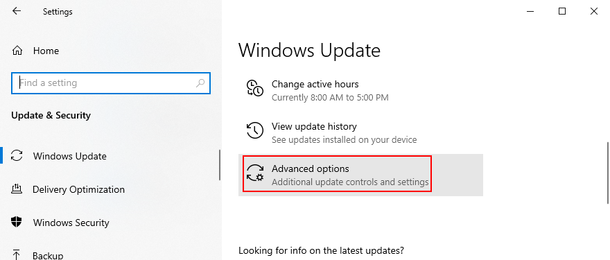 Windows 10 muestra cómo acceder a las opciones avanzadas de Windows Update