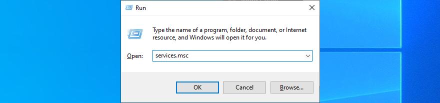 Windows 10 muestra cómo ejecutar services.msc