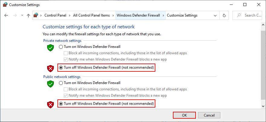 El Panel de control muestra cómo desactivar el Firewall de Windows Defender