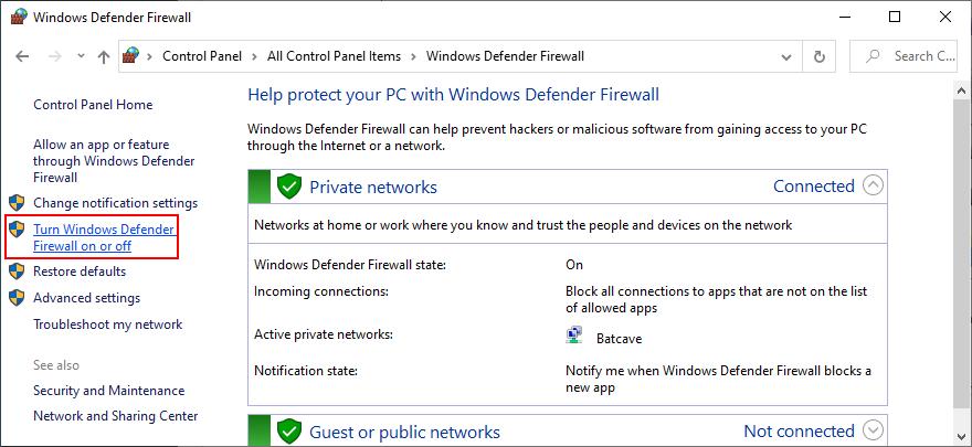 El Panel de control muestra cómo activar o desactivar el Firewall de Windows Defender