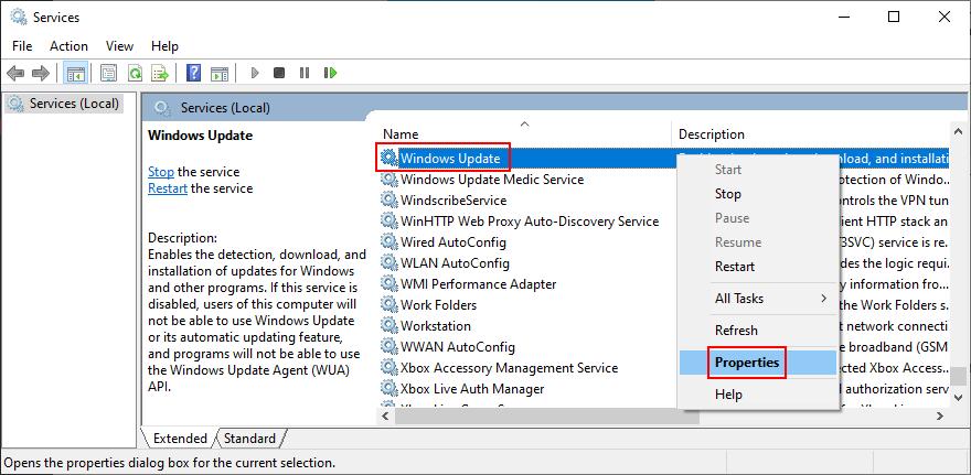 Windows 10 muestra cómo acceder a las propiedades del servicio Windows Update