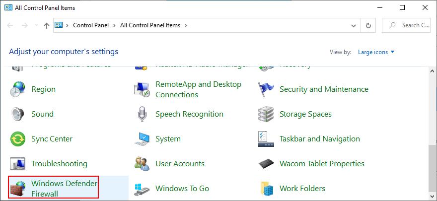 El Panel de control muestra el Firewall de Windows Defender