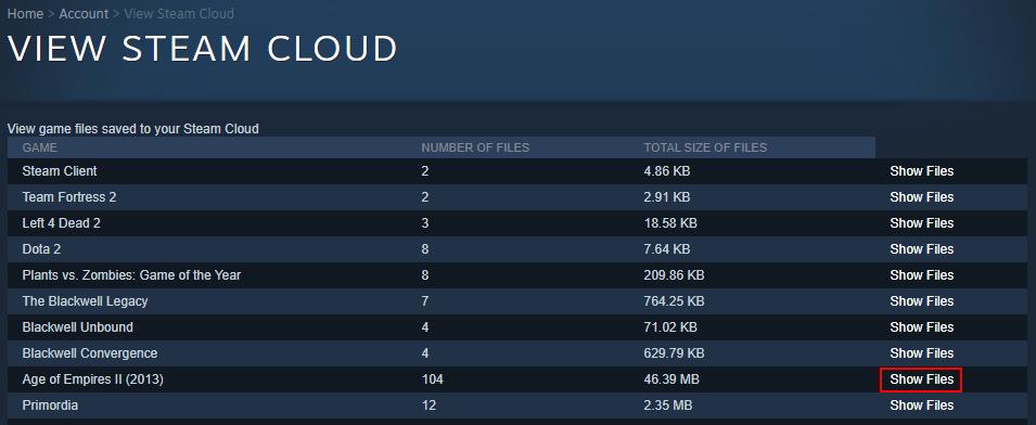 Steam Cloud muestra archivos del juego