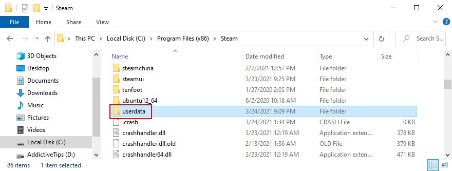 Steam muestra la carpeta de datos de usuario