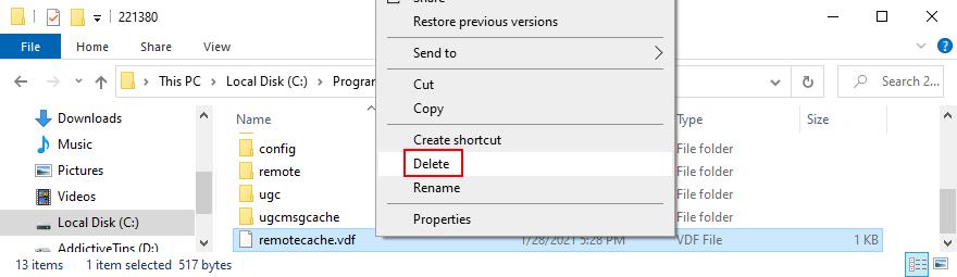 cómo eliminar el archivo de eliminación de Steam remotecache