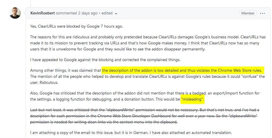 Extensión ClearURLs eliminada de la tienda web de Chrome
