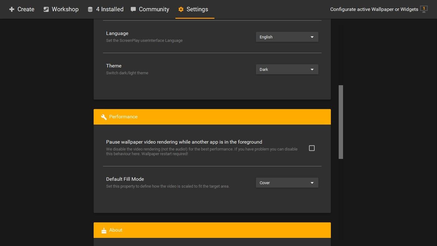 Configuración de ScreenPlay