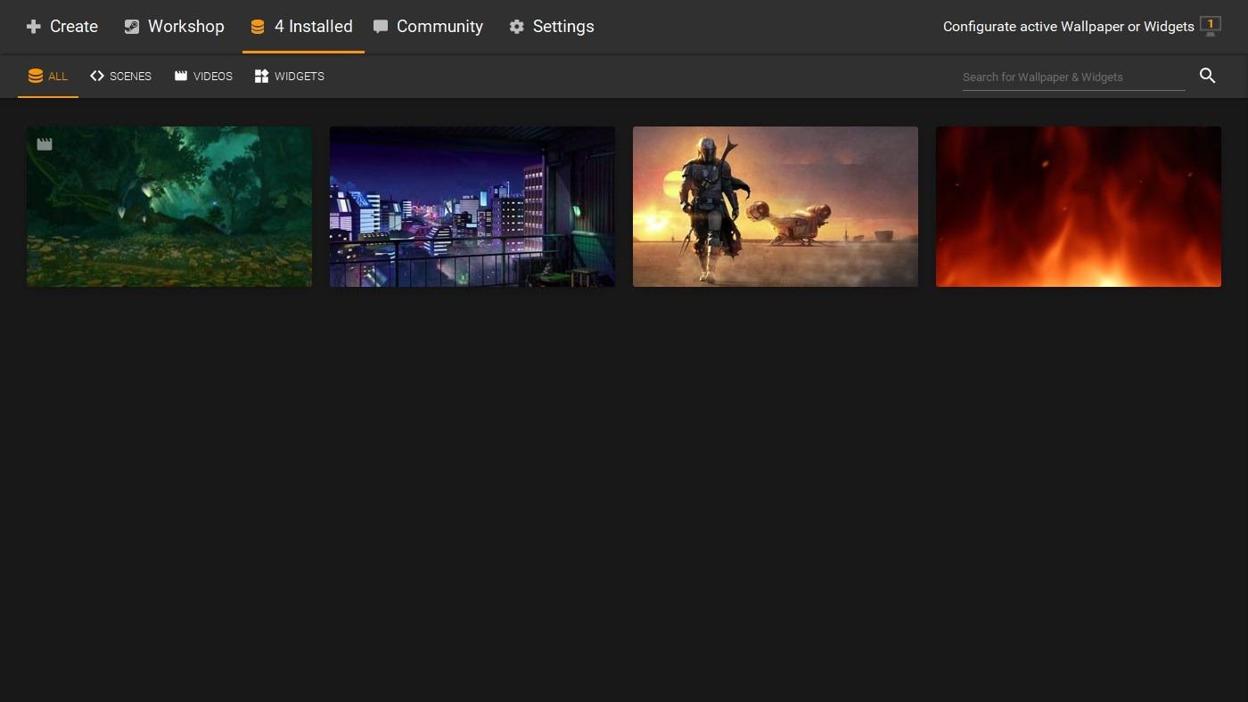 Pantalla de inicio de ScreenPlay