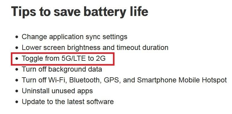 Para ahorrar batería, T-Mobile dice que apague 5G y use 2G en su lugar; T-Mobile dice que en esta situación, debe deshabilitar 5G y usar 2G en su lugar