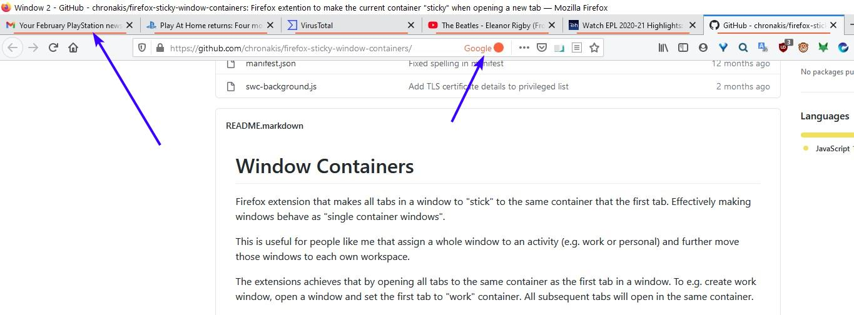 Cargue nuevas pestañas en el mismo contenedor que la primera con la extensión Sticky Window Containers para Firefox