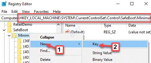 Editor del registro Navegue a la ubicación Haga clic con el botón derecho mínimo en Nueva clave