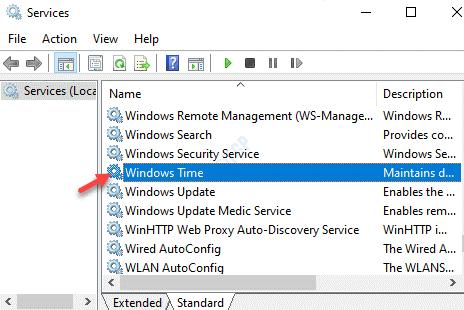 Nombre de los servicios Hora de Windows Doble clic