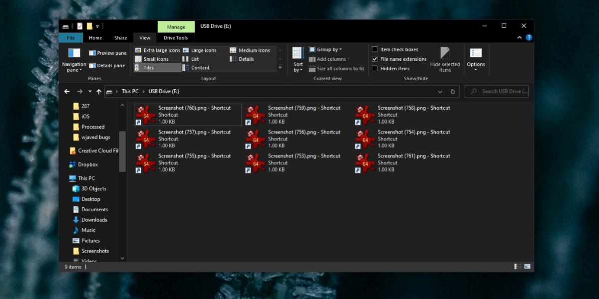 Los archivos de la unidad flash se convierten en accesos directos