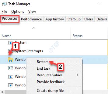 El Administrador de tareas procesa el reinicio del Explorador de Windows