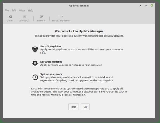 administrador de actualizaciones de linux mint