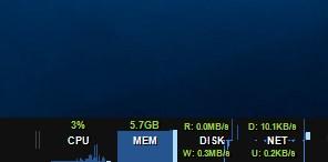 El monitor de la barra de tareas muestra una banda de escritorio para indicar el uso de recursos de su computadora