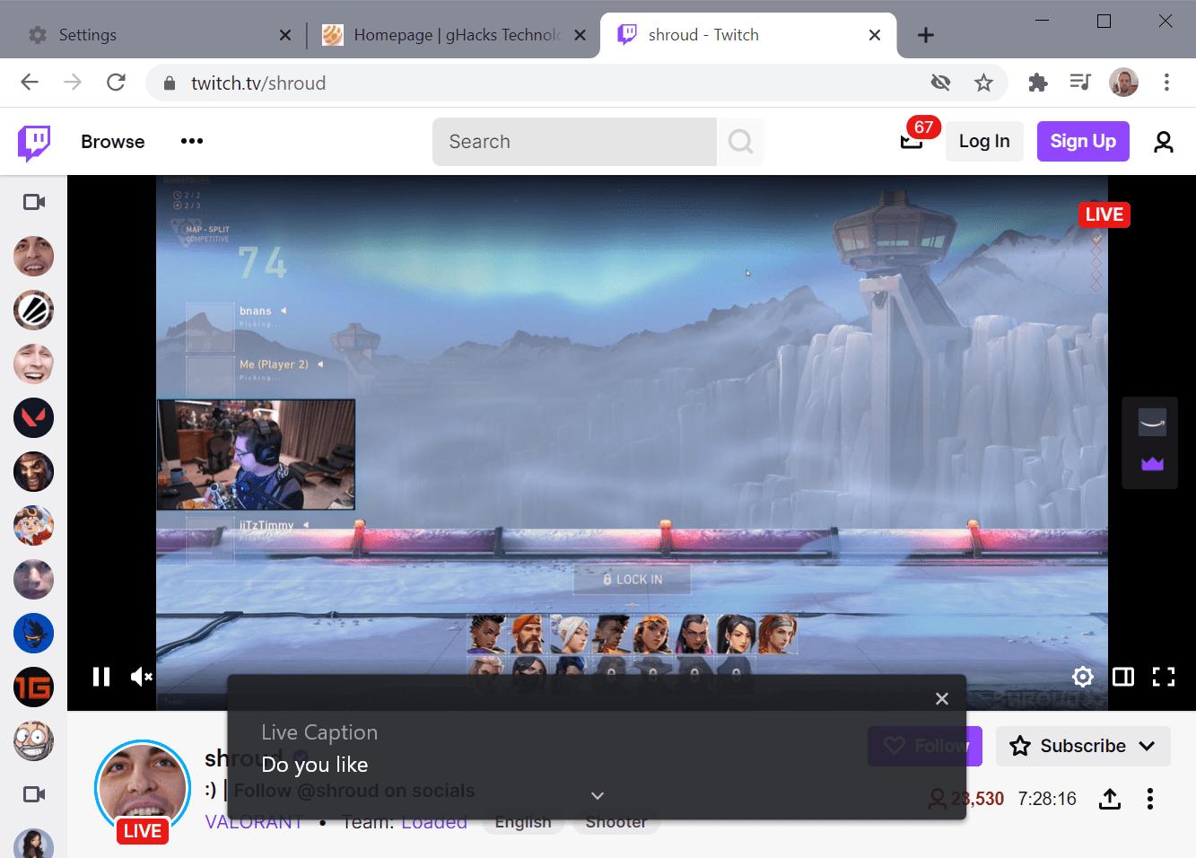 subtítulos en vivo de Chrome