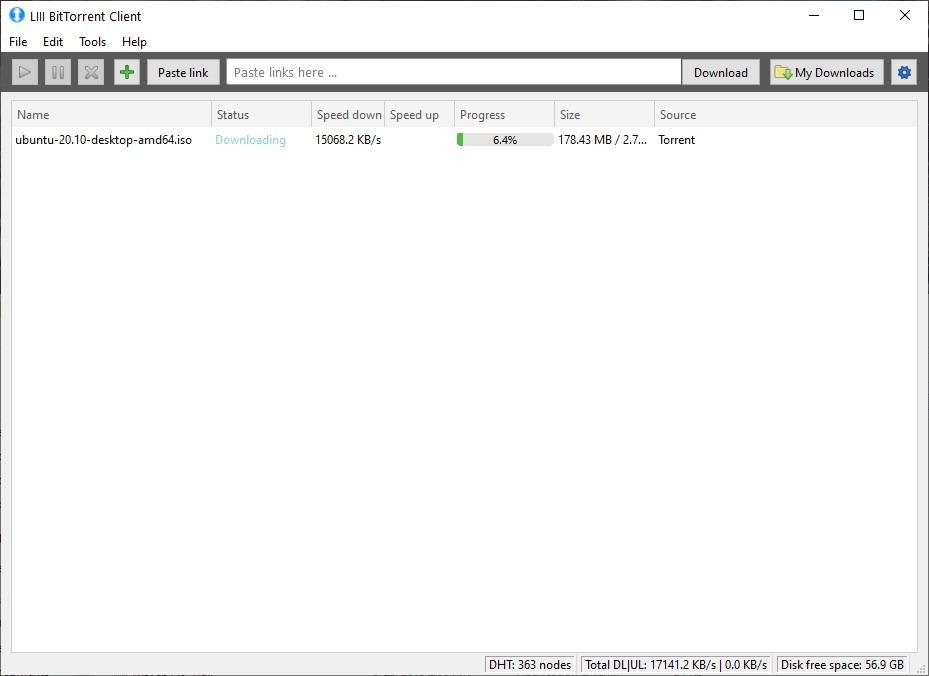 LIII es un cliente BitTorrent de código abierto ligero para Windows