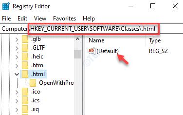 Editor del registro Navegar a .html Clave predeterminada Doble clic