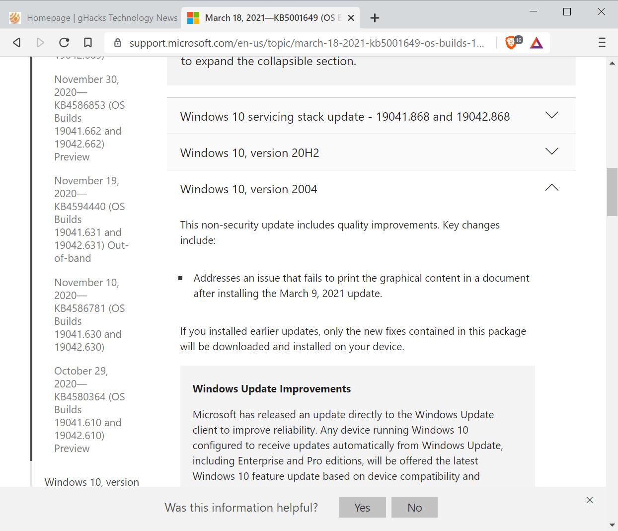 actualización opcional de reparación de impresión de Windows 10