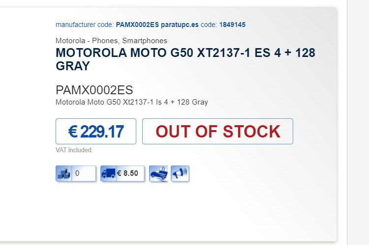 El Moto G50 está actualmente agotado en & nbsp; Partupc - La lista prematura revela el precio del Moto G50, seguro que parece ser el teléfono 5G más barato de Motorola.