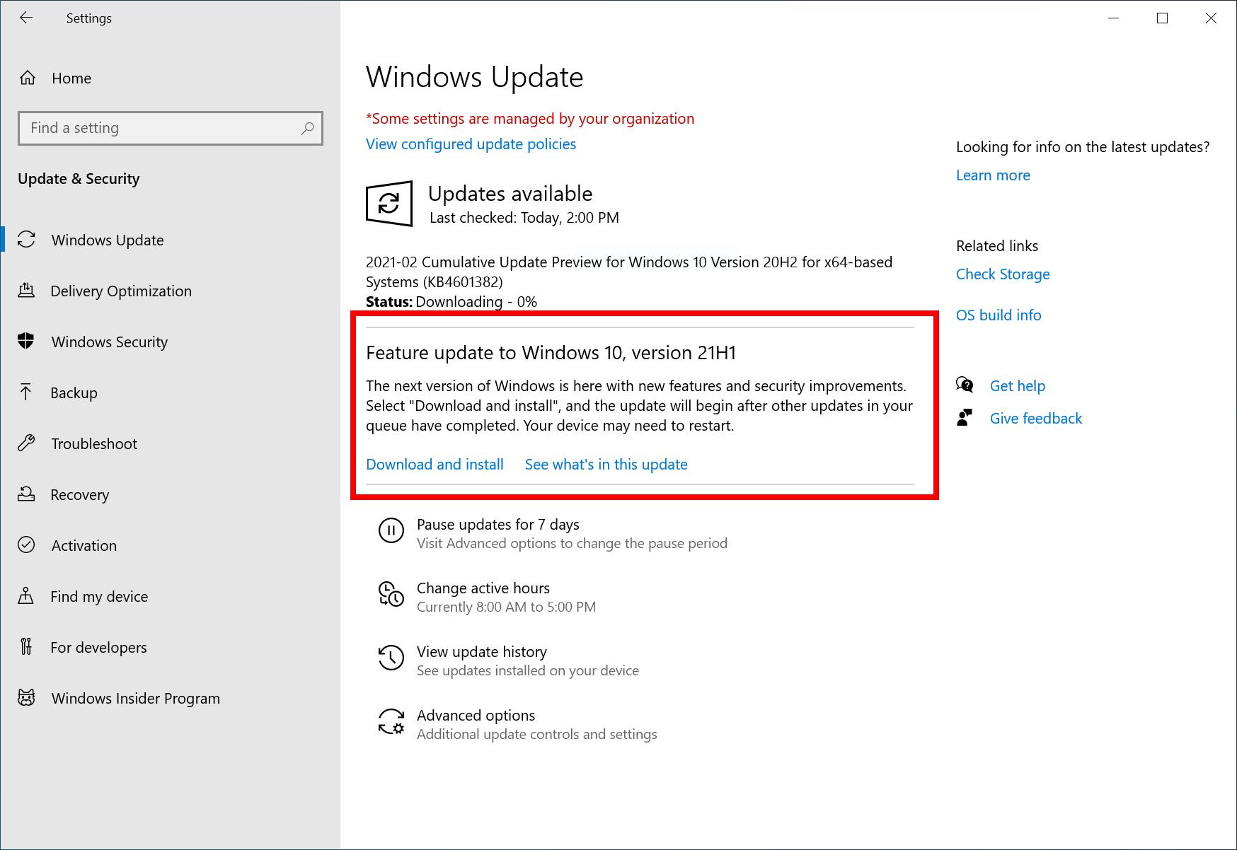 actualización de funciones de Windows 10 versión 21h1