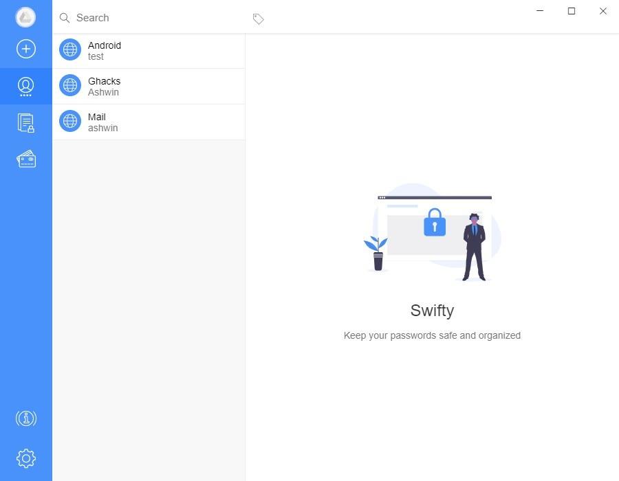 Swifty es un administrador de contraseñas de código abierto y sin conexión para Windows, MacOS y Linux