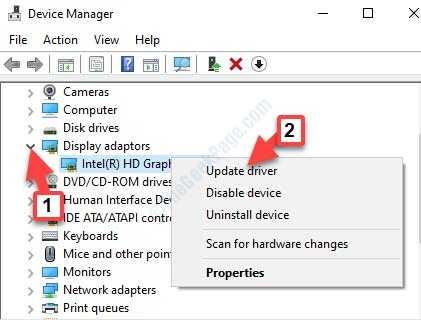 Adaptadores de pantalla del Administrador de dispositivos Expandir Adaptador gráfico Haga clic con el botón derecho Actualizar controlador