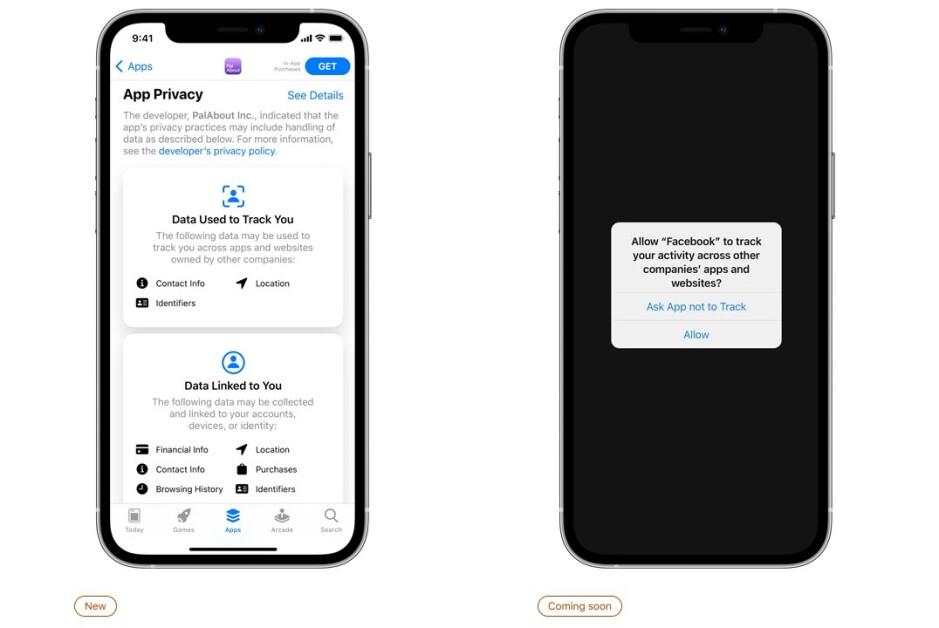 Las etiquetas de privacidad de Apple a la izquierda y la función de transparencia de seguimiento de aplicaciones a la derecha: ¡descubra qué datos recopilan de usted las propias aplicaciones de Apple!