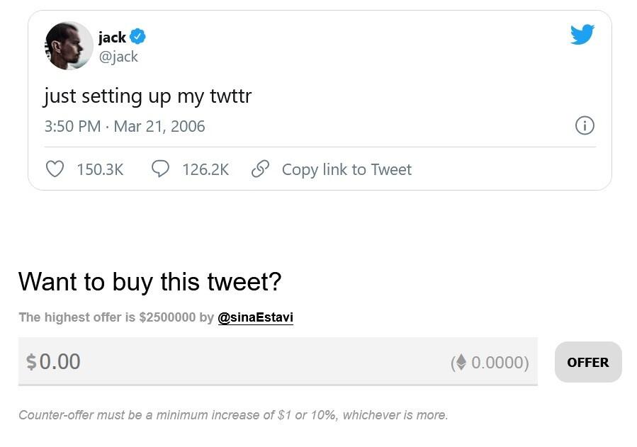 El primer tweet publicado en Twitter, escrito por el cofundador y director ejecutivo de la compañía, Jack Dorsey, está en subasta y está obteniendo una oferta de $ 2.5 millones. El primer tweet está siendo subastado;  la oferta máxima actual es de $ 2.5 millones