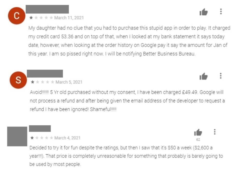 Ejemplos de comentarios que deberían haber evitado que los consumidores descarguen software de lana - PSA: Mejor manténgase alejado de aplicaciones como estas que lo están engañando.