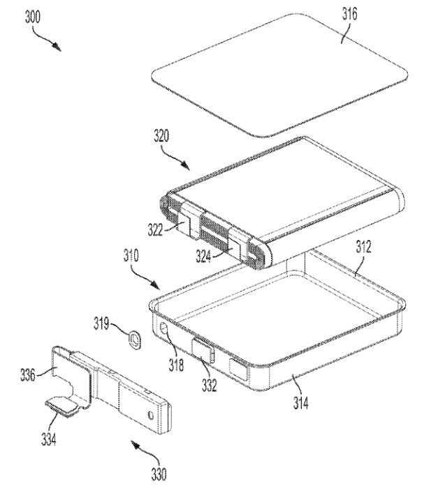 Ilustración de una solicitud de patente presentada por Apple que permitiría a Apple incluir baterías más grandes en sus dispositivos: Apple busca colocar baterías más grandes en futuros modelos de iPhone y en otros dispositivos.